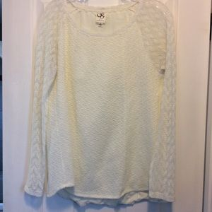 Anthro One September feather lace pullover